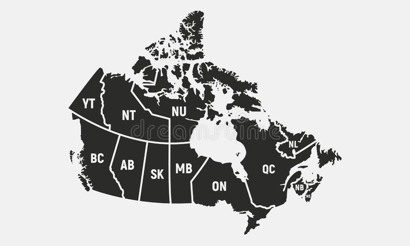 Canadian map with short provinces and territories names. Canada background. Vector illustration. Canadian map with short provinces and territories names stock illustration