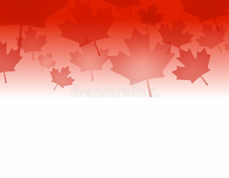 Canadian Maple Leaf Border. A background border featuring Canadian Maple Leaves in red stock illustration