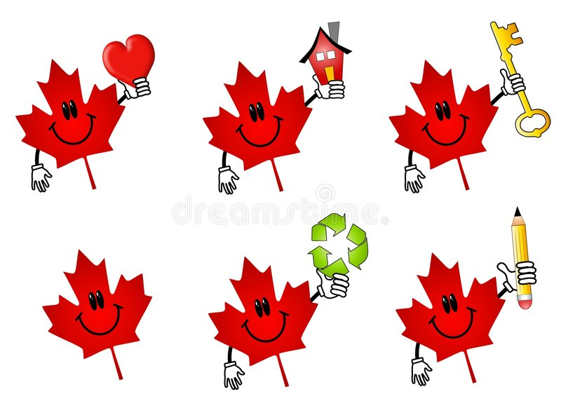 Canadian Maple Leaf Cartoons. An illustration featuring your choice of 6 red Canadian maple leaf icons holding various items - heart, house, key, recycling royalty free illustration