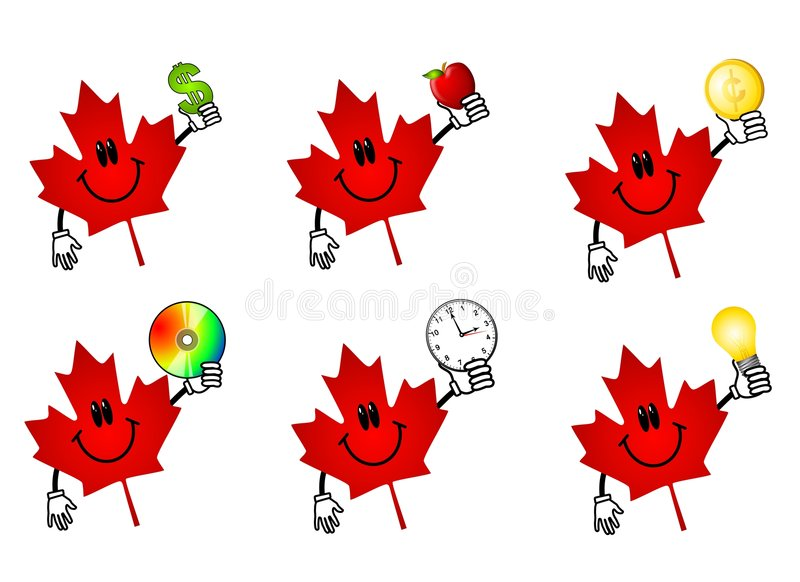Canadian Maple Leaf Cartoons. An illustration featuring your choice of 6 red Canadian maple leaf icons holding various items - money, apple (health theme), cd vector illustration
