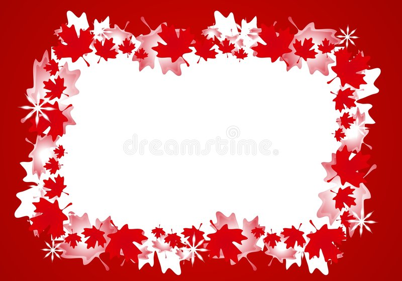Canadian Maple Leaf Christmas Border Frame. A background illustration featuring a frame or border of Canadian maple leaves in red and white with a touch of stock illustration