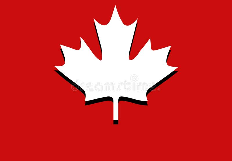 Canadian maple Leaf flat icon with shadow. Illustration design. Flag, red, wallpaper, backdrop, symbol, white, creative, canada, national, banner, label royalty free stock photography