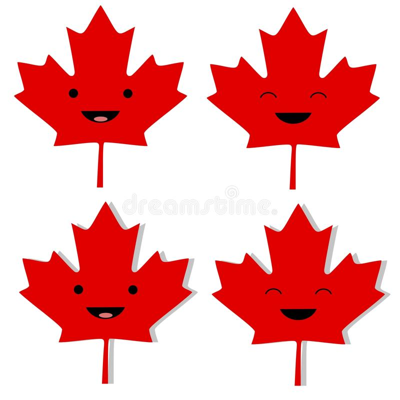 Canadian Maple Leaf Smilies. An illustration featuring your choice of Canadian Maple Leaf smilies with and without dropshadows royalty free illustration