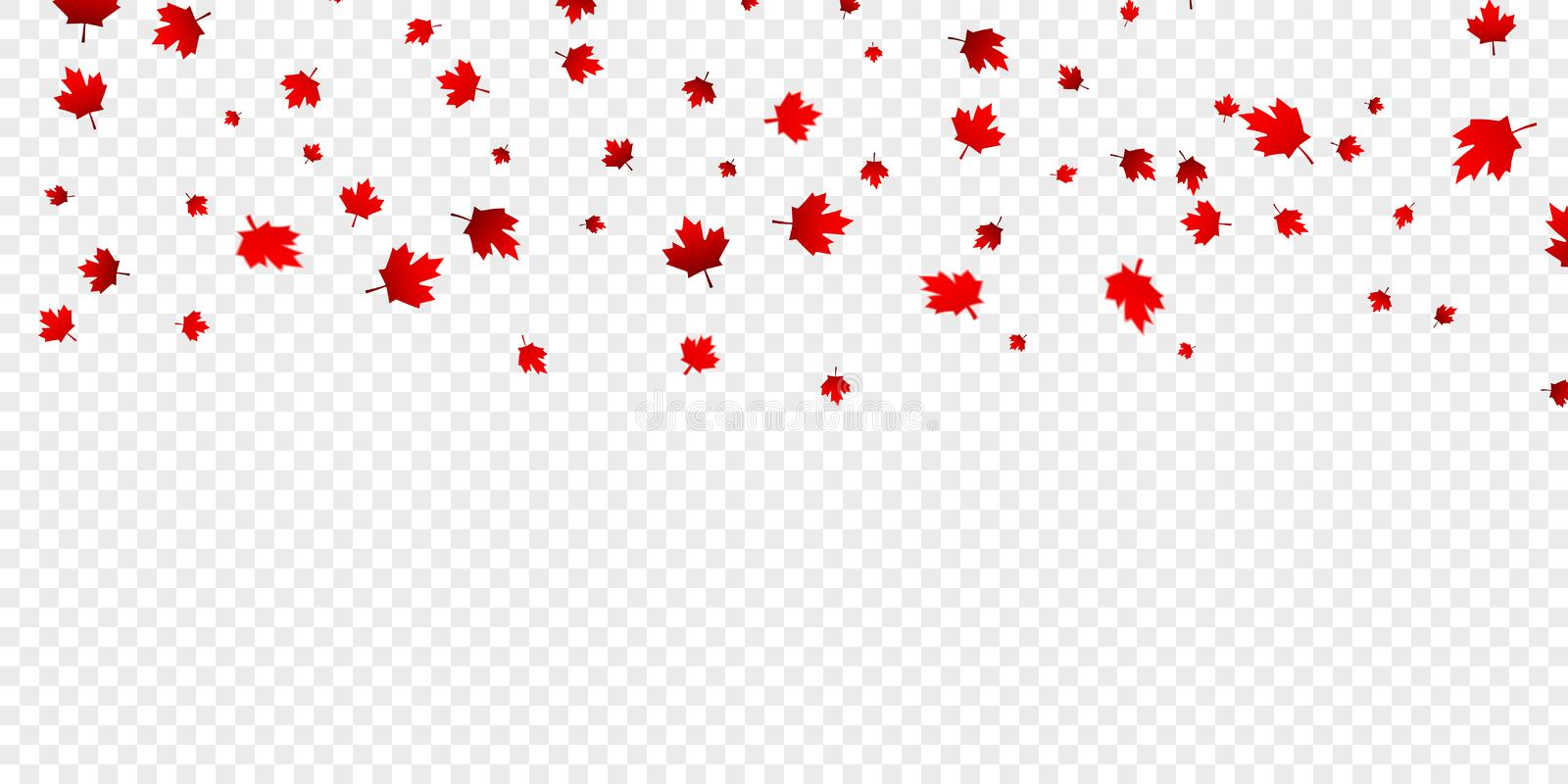 Canadian maple leaves background. Falling red leaves for Canada Day 1st July vector illustration
