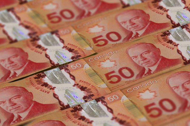 Canadian money background. Canada dollars pattern. CAD. 50 dollars closeup photo stock image
