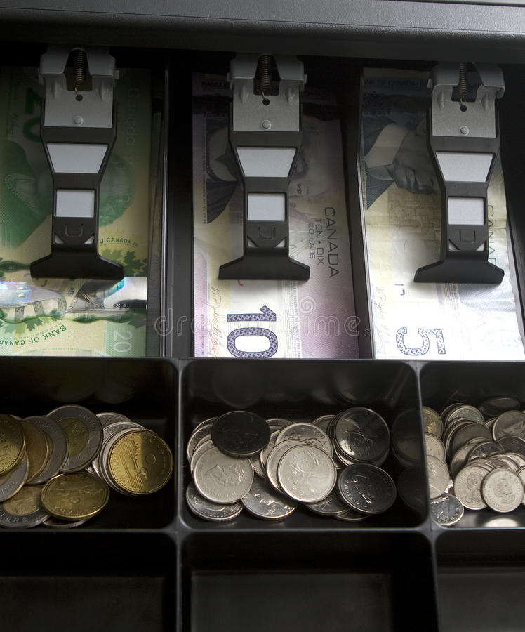 Canadian Money In Drawer stock photography