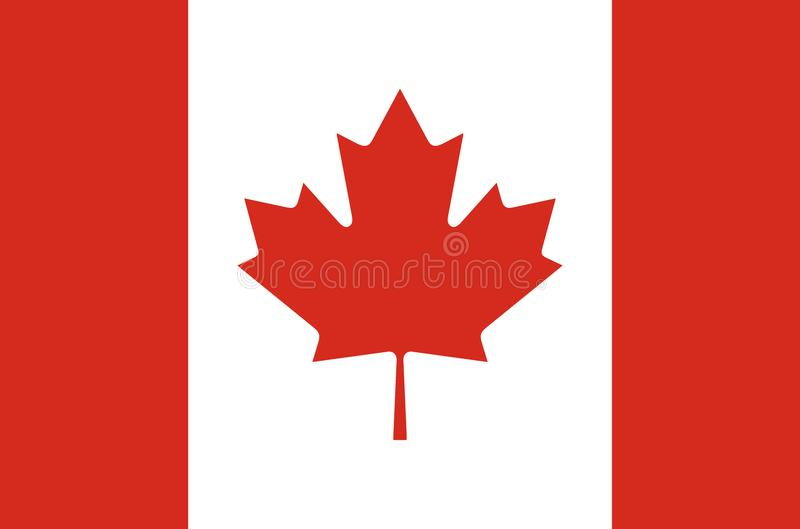 Canadian national flag in accurate colors, official flag of canada in exact colors. Real colors royalty free illustration
