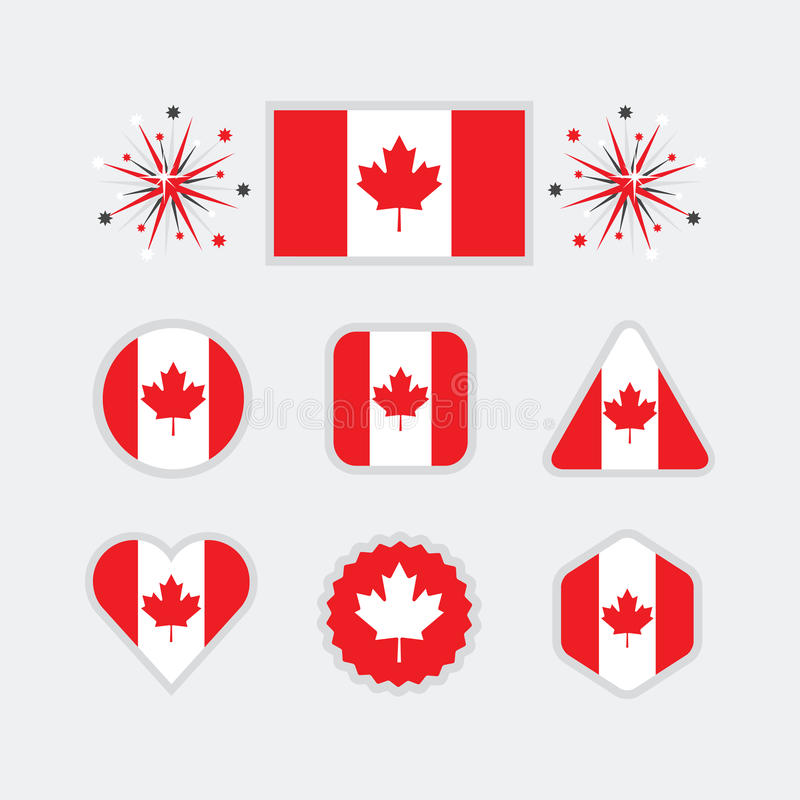 Canadian national flag icons set on modern gray background royalty free illustration