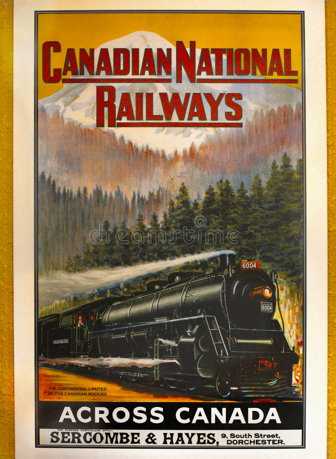 Canadian National Railways. Vintage Canadian National Railways Adverts from 1924 on Jasper Railway Station, Canada royalty free stock photography