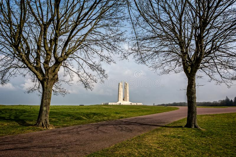 The Canadian National Vimy Memorial near Arras, France. Dedicated to the Canadian Expeditionary Force members killed during World War 1, taken on 24 March 2015 royalty free stock images
