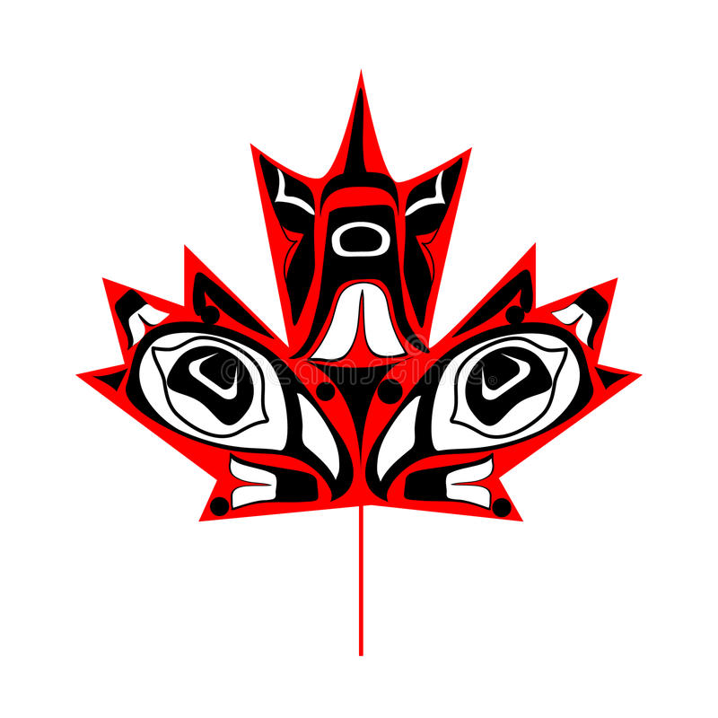 Canadian native maple leaf. Canadian maple leaf in native art on white background stock illustration