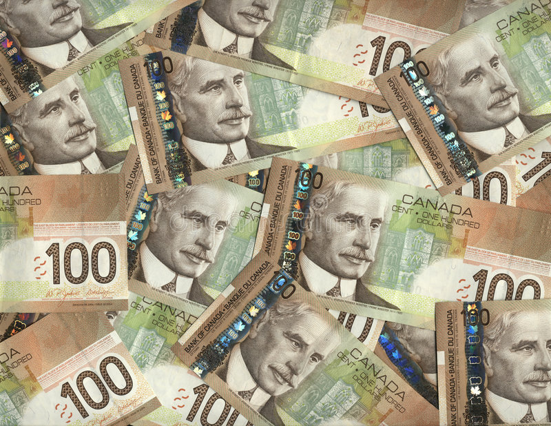 Canadian one hundred dollar bills stock image