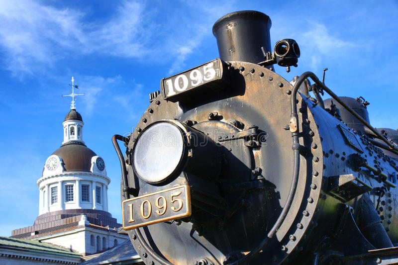 Canadian Pacific Railways historic locomotive in Kingston Ontario Canada with City Hall dome in the background stock photos