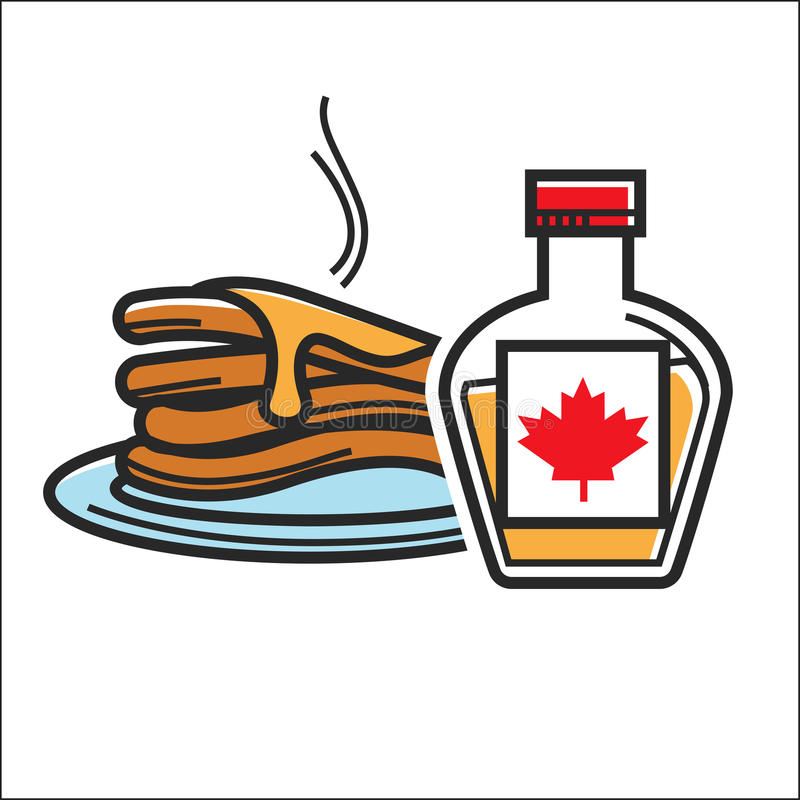 Canadian pancakes in maple syrup vector isolated Canada traditional food symbol. Canadian pancakes in maple syrup. Canada traditional national food dessert stock illustration