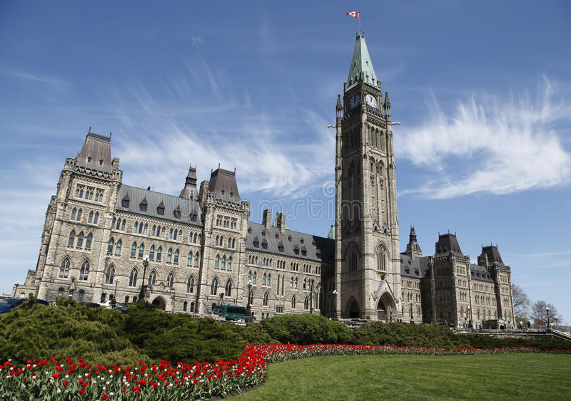 Canadian Parliament. Building During The Annual Spring Tulip Festival royalty free stock photos