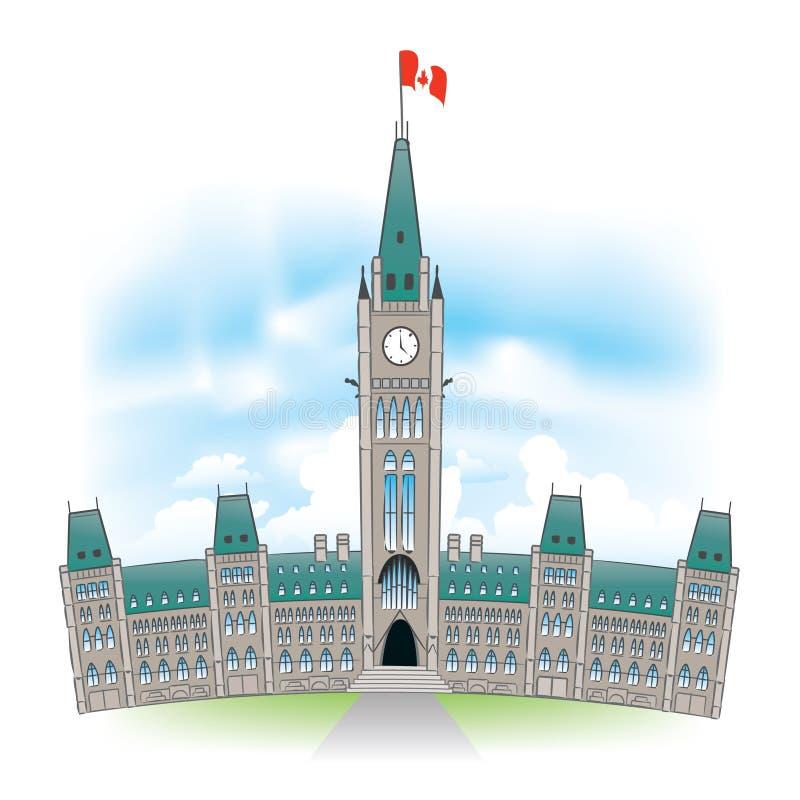 Canadian Parliament Building. Beautiful portrait of the Canadian Parliament building in Ottawa Canada vector illustration