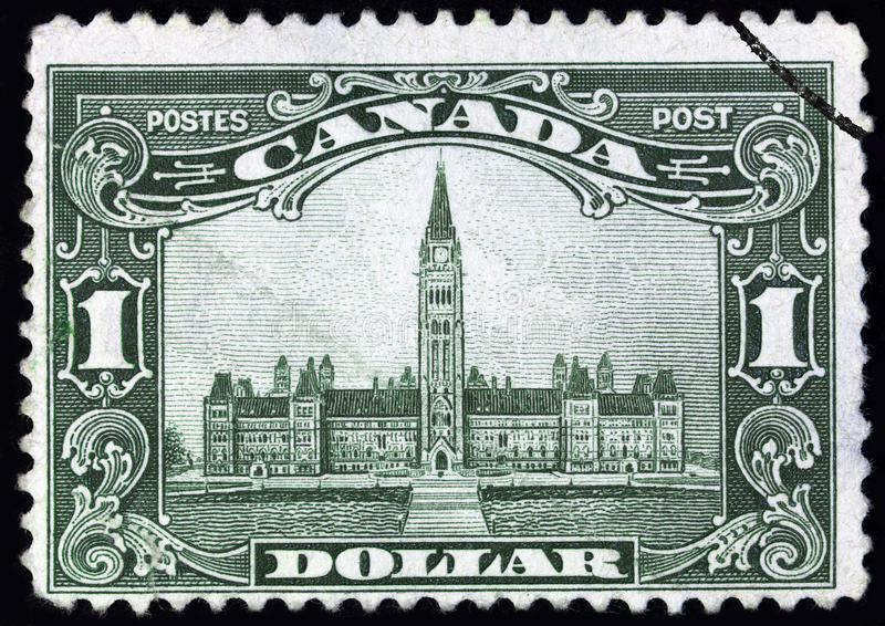 Canadian Parliament Building. Depicted on a finely engraved stamp from the 1920s royalty free stock images