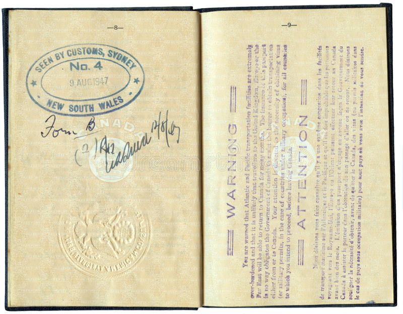 Canadian Passport 1947 - with Travel Warning royalty free stock photo