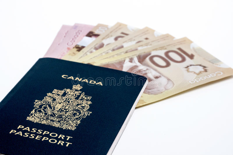 Canadian Passport And Money Stock Photography