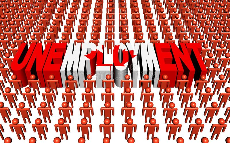 Canadian People With Unemployment Text Royalty Free Stock Images