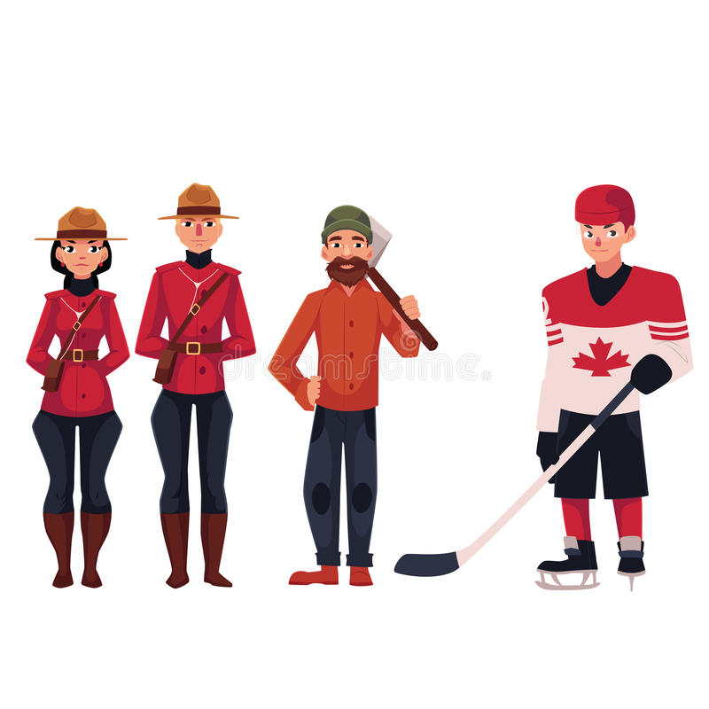 Canadian policeman in traditional uniform, lumberjack and hockey player royalty free illustration