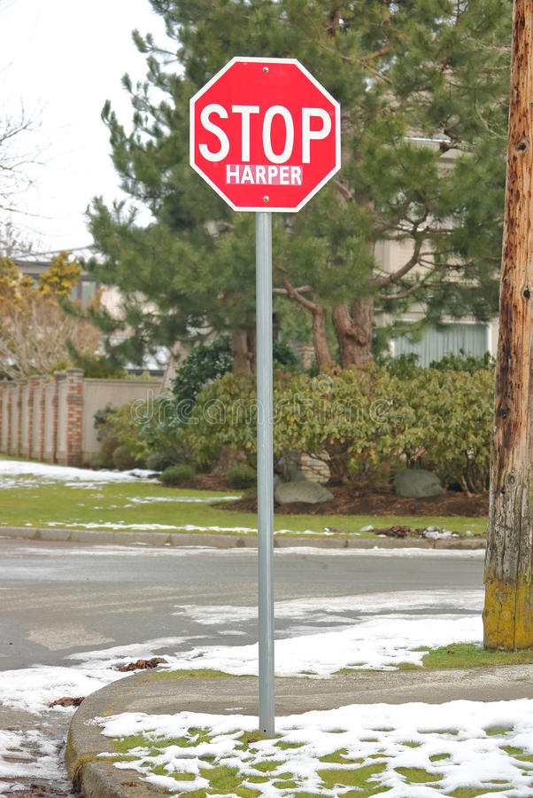 Canadian Political Statement to Stop Stephen Harper. A common stop sign has been used to issue a political statement to stop Canadian Conservative leader Stephen royalty free stock photos
