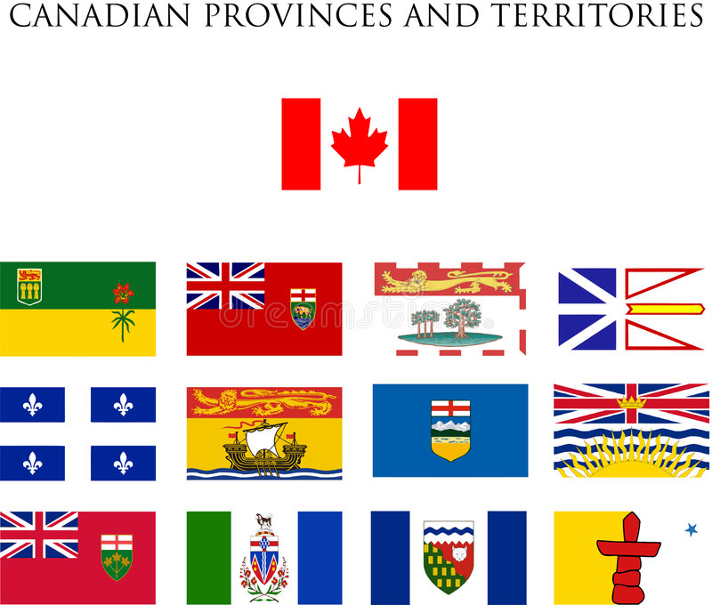 Canadian provinces flags. A fully scalable vector illustration of all Canadian provinces and territory flags