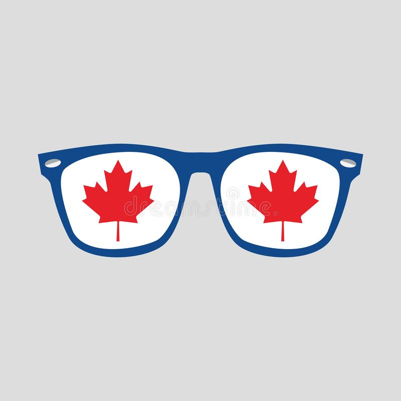 Free Canadian Red Maple Leaf Sign On Blue Frame Sunglasses Icon On Gray Royalty Free Stock Image - 151723896