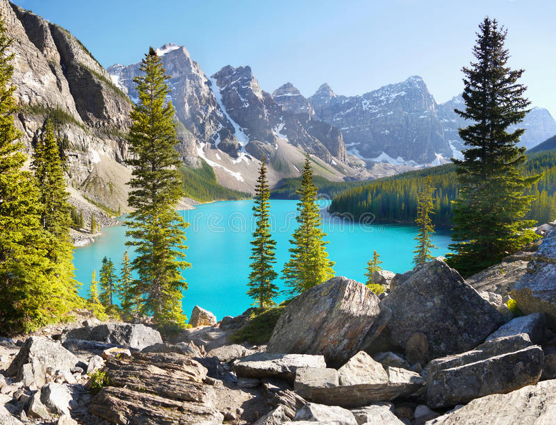Moraine Lake, Canadian Rockies, National Park royalty free stock photo