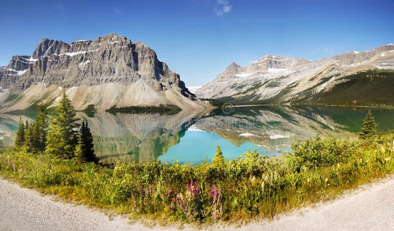Canadian Rockies Panorama, Bow Lake stock photography