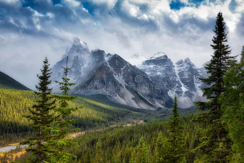 Canadian Rockies snowing royalty free stock photography