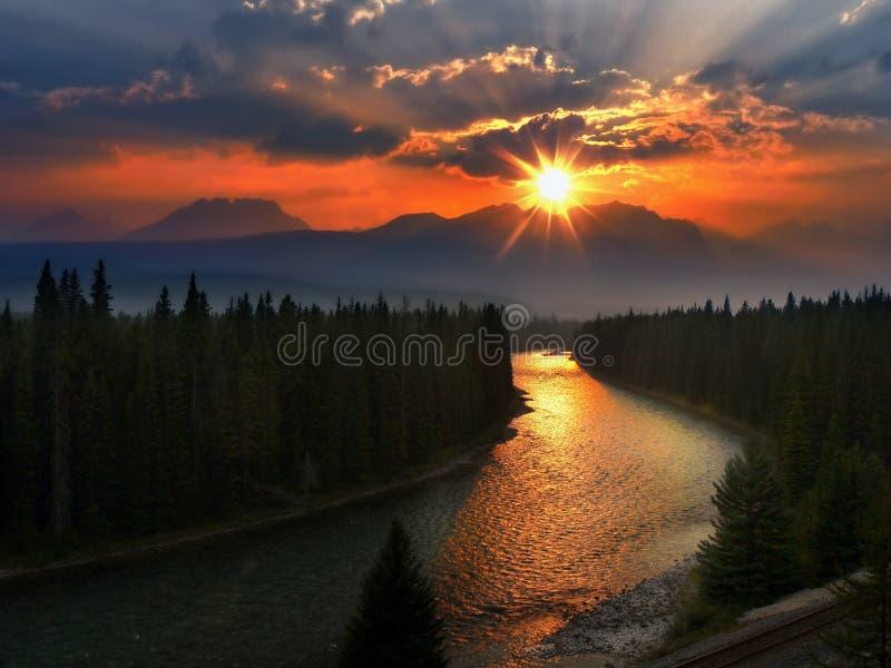 Canadian Rockies Sunset, Banff National Park stock photos