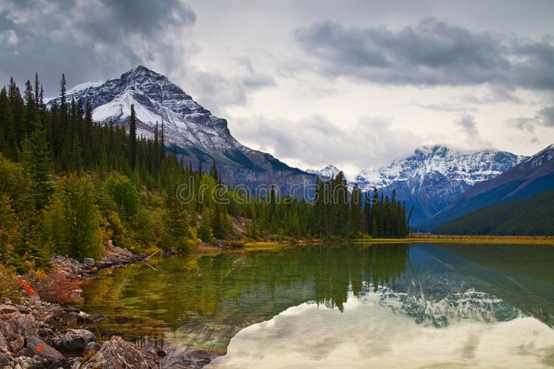 Canadian Rocky Mountains in fall, Jasper National Park royalty free stock photography