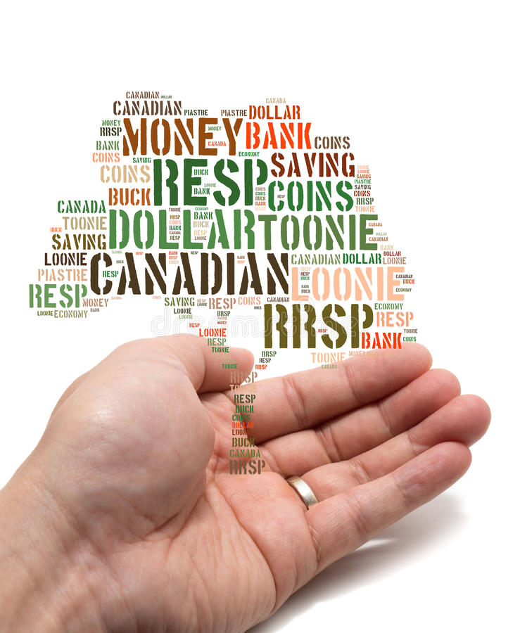 Canadian savings concept. Canadian growing savings concept with tag cloud tree inside a married male Asian hand on white background stock images