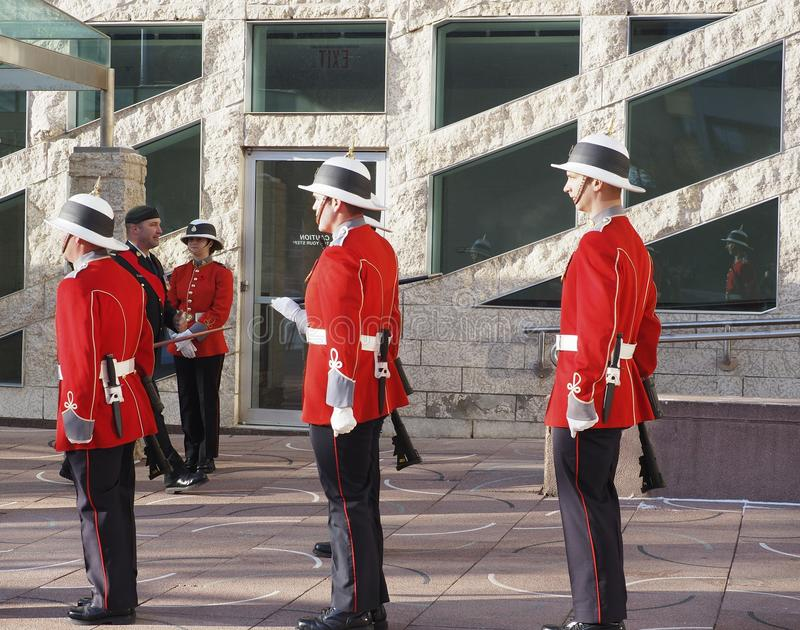 Canadian Soldiers In Historic Uniforms For Remembrance Day royalty free stock photos