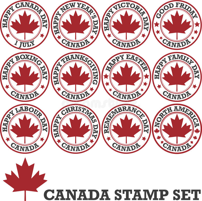 Canadian stamp set. Canadian holidays. Set of vector patriotic stamps royalty free illustration