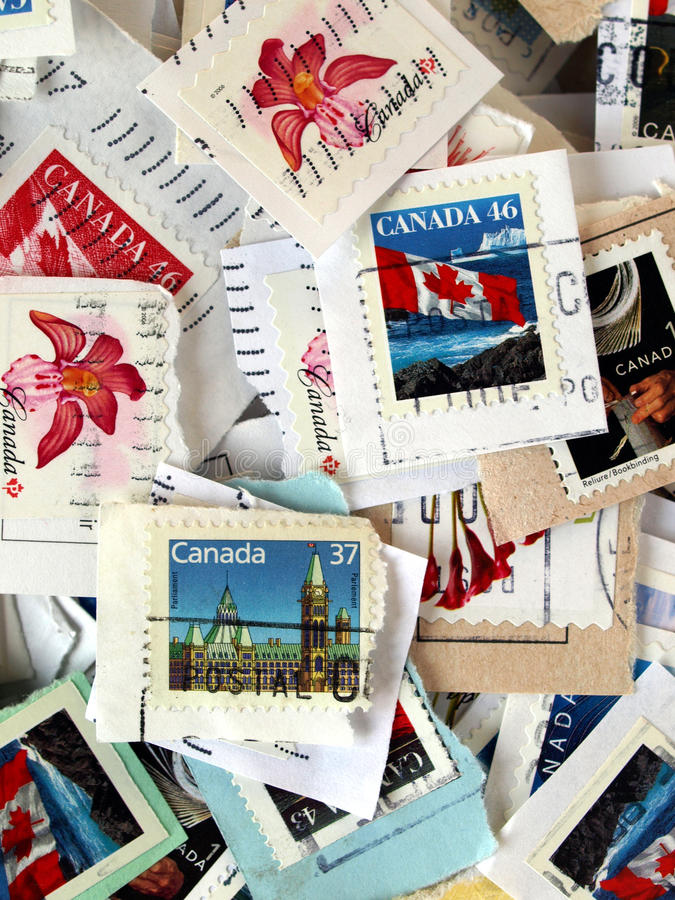 Canadian stamps stock photo