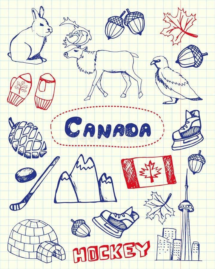 Canadian Symbols Pen Drawn Doodles Vectors Set. Canada associated symbols. Canadian national, cultural, architectural, nature, sports, tourist related hand drawn vector illustration