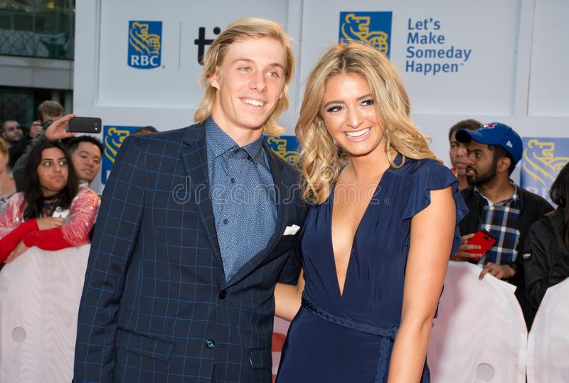 2017 Toronto International Film Festival - `Borg/McEnroe` Premiere - Red Carpet. Canadian Tennis Player Denis Shapovalov L and guest at the`Borg/McEnroe`premiere royalty free stock photo
