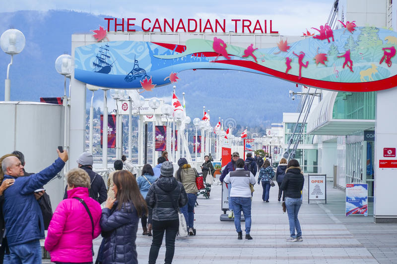 The Canadian Trail at Canada Place in Vancouver - VANCOUVER - CANADA - APRIL 12, 2017. The Canadian Trail at Canada Place in Vancouver - CANADA royalty free stock photography