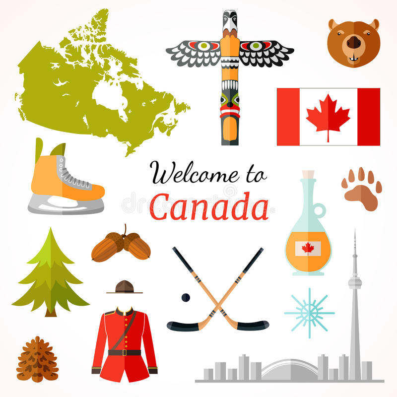 Canadian travel banner. Vector flat style flyer design. Travel banner with famous Canadian symbols, culture element, icons for journey design . Vector vector illustration
