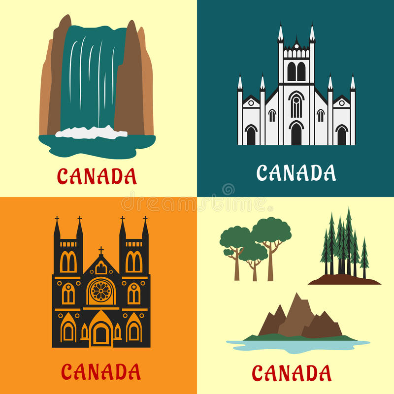 Canadian travel landmarks flat icons. Architecture and nature landmarks of Canada with flat icons of scenic waterfall, evergreen forest, mountain and valley stock illustration