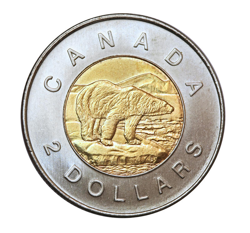 Canadian two dollar coin royalty free stock photos