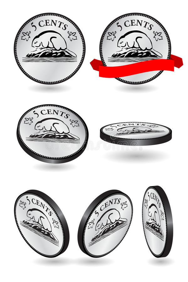 Canadien nickel de 5 cents illustration stock