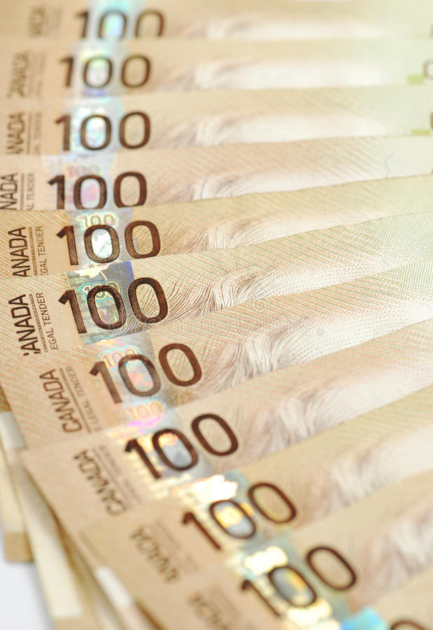 Canadiense cientos cuentas de dólar imágenes de archivo libres de regalías