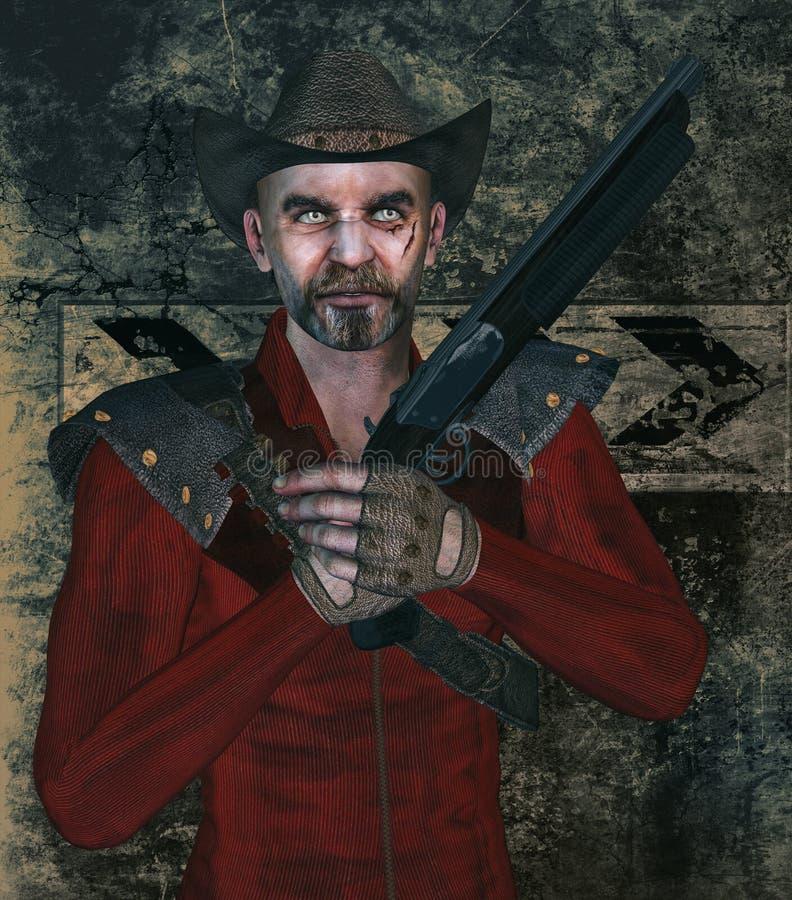 Canaglia con la pistola e la cicatrice illustrazione vettoriale
