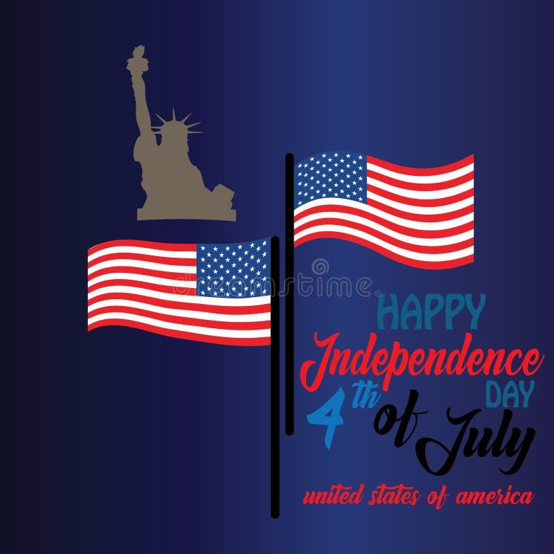 Canaille pour le 4ème juillet avec le drapeau américain et les confettis Célébration de Jour de la Déclaration d'Indépendance des illustration de vecteur