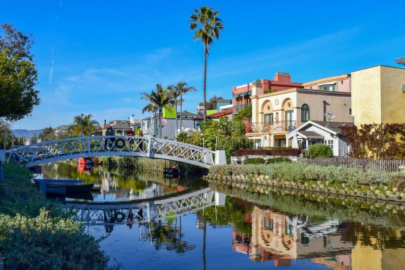 Canais coloridos de Veneza em Los Angeles, CA foto de stock