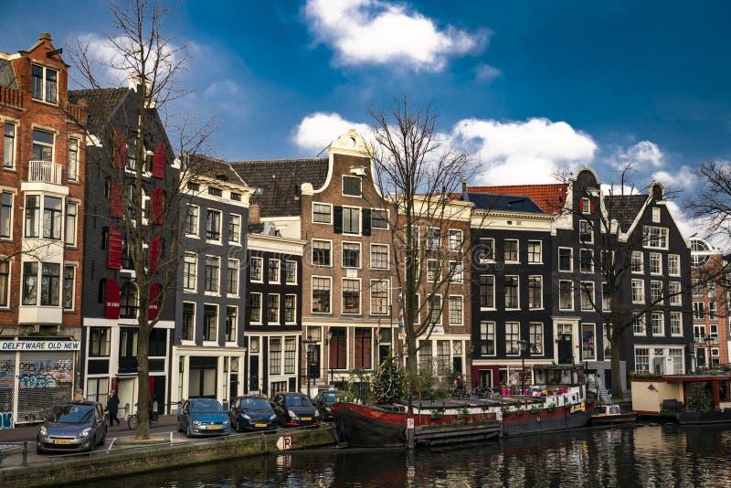 Canais da Holanda de Amsterdão imagens de stock