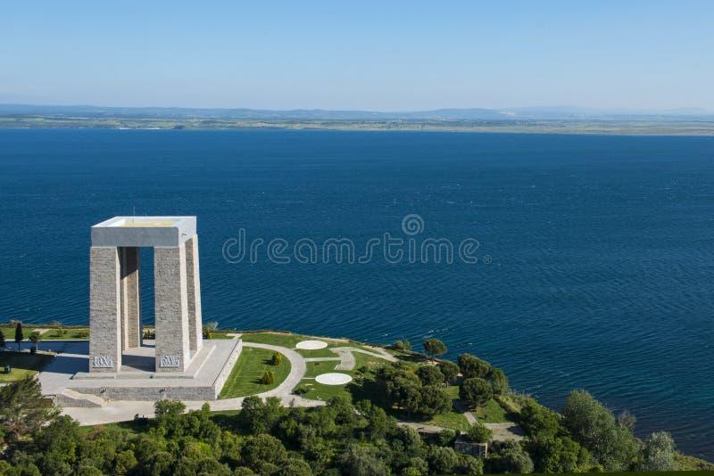 Canakkale martirizza il memoriale del ` contro allo stretto dei Dardanelli immagini stock